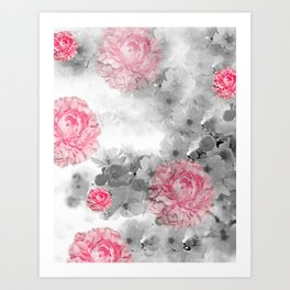 ROSES PINK WITH CHERRY BLOSSOMS Art Print