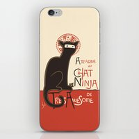high iPhone & iPod Skins featuring A French Ninja Cat (Le Chat Ninja) by Kyle Walters