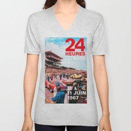 24hs Le Mans 1967, vintage poster Unisex V-Neck