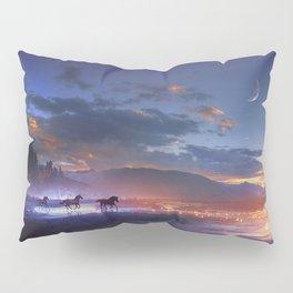 Fascinating Wild Fairytale Horses Running Across Mystic Fire River Dreamy Sunset UHD Pillow Sham