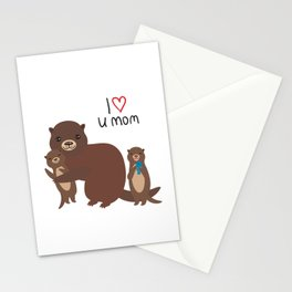 I Love You Mom. Funny brown kids otters with fish on white background. Gift card for Mothers Day. Stationery Cards