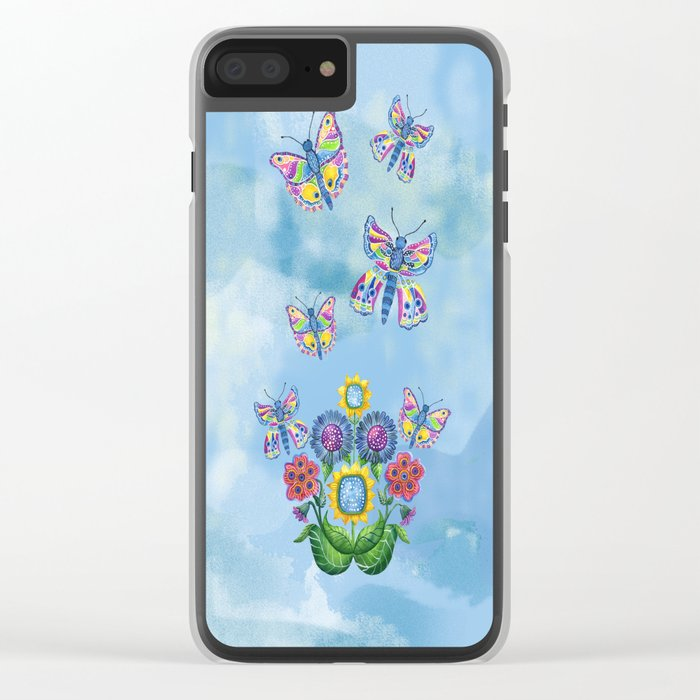 Butterflies and Flowers Clear iPhone Case