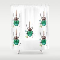 beetle Shower Curtains featuring Beetle by Rocío Gómez
