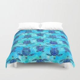 Watercolor Sea Turtles Mandalas Pattern Duvet Cover