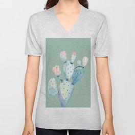 Rose Desert Cactus Mint Green Unisex V-Neck