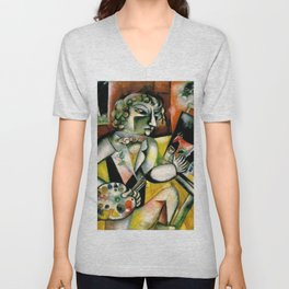 Portrait of an Artist with Painter's Palette with Seven Fingers by Marc Chagall Unisex V-Neck