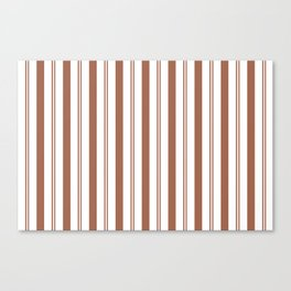 Sherwin Williams Cavern Clay Thick and Thin Vertical Lines Stripes Canvas Print