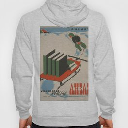 Vintage poster -  A Year of Good Reading Ahead Hoody