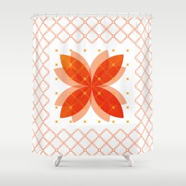 Orange Integration Pattern 3 Shower Curtain