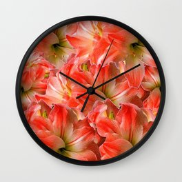 Pink & Red Amaryllis Patterns Floral Art Wall Clock