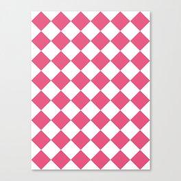 Large Diamonds - White and Dark Pink Canvas Print