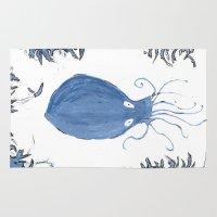 squid Area & Throw Rugs featuring squid.  by Elvis Vazquez