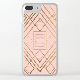 Modern coral faux leather faux gold geometrical pattern Clear iPhone Case