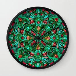 Green red folk inspired bohemian mandala pattern Wall Clock