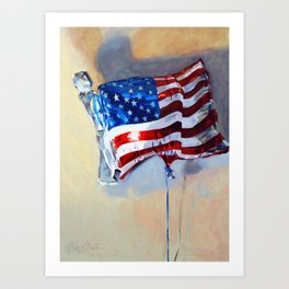 American Flag Balloon Art Print