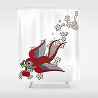 swallow Shower Curtains featuring Red Swallow by Jelly Roger
