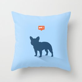 Frenchie Expectations - Baby Blue Throw Pillow