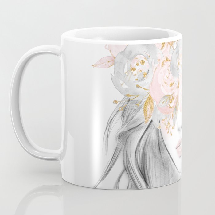She Wore Flowers in Her Hair Rose Gold by Nature Magick Coffee Mug