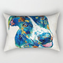Colorful Dog Art - Happy Go Lucky - By Sharon Cummings Rectangular Pillow