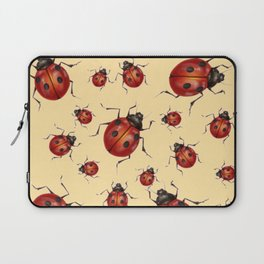 ABSTRACT RED LADY BUGS ON CREAM COLOR DESIGN ART Laptop Sleeve
