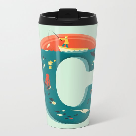 Plenty of Fish in the C  (blue) Metal Travel Mug