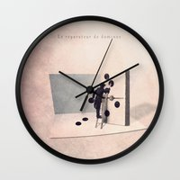 engineer Wall Clocks featuring The domino engineer by Yann Pendaries