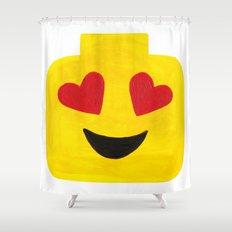 Heart Eyes - Emoji Minifigure Painting Shower Curtain