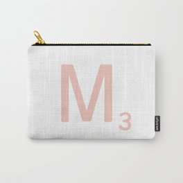 Pink Scrabble Letter M - Scrabble Tile Art and Accessories Carry-All Pouch