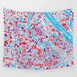 Vienna City Map Poster Wall Tapestry