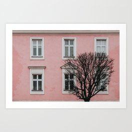 BARE TREE IN FRONT OF PINK BUILDING Art Print