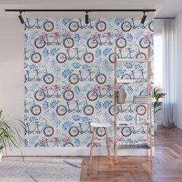 Vintage watercolor pink blue bicycle floral Wall Mural