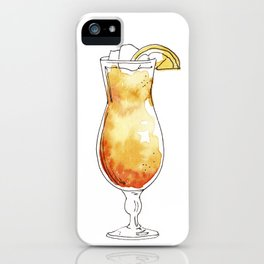 Watercolor hand-painted cocktail illustration iPhone Case