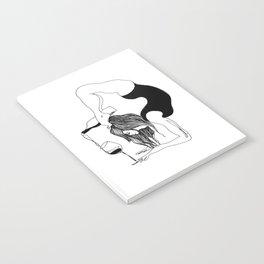 funny black and white yoga wine print, yoga woman, yoga gift, drawing, balance, modern, yogi, yogini Notebook