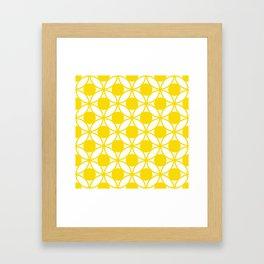 Geometric Floral Circles Summer Sun Shine Bright Yellow Framed Art Print