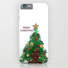 Afro Christmas Tree Design Cards & Gifts iPhone Case