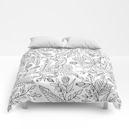 Wildflower Pattern - Black and White Comforters