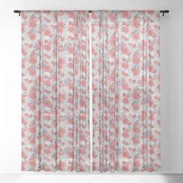 Crimson and Silver Floral Sheer Curtain