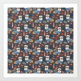 Corgi sailor custom pet friendly dog breed welsh corgis nautical pattern Art Print