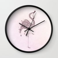 flamingo Wall Clocks featuring Flamingo  by LouJah