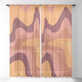 Retro Liquid Swirl Abstract Pattern Square in Warm Terracotta Earth Tones Sheer Curtain