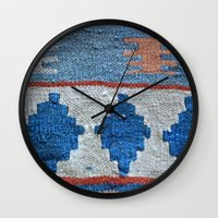 kilim Wall Clocks featuring afghani kilim by sara gering