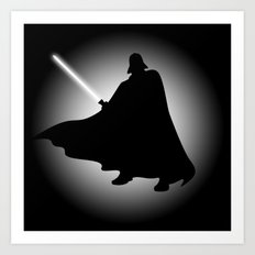 Vader Sithouette (B/W) Art Print