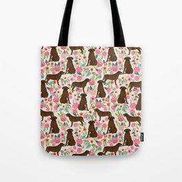 Labrador Retriever florals chocolate lab cute pet gifts must have labrador florals Tote Bag