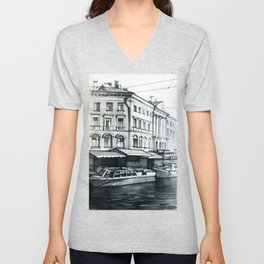 Drawing with a graphite pencil of a city landscape, yachts on water river channels. Unisex V-Neck