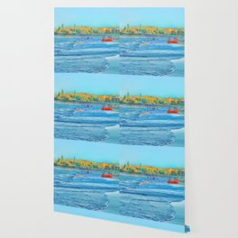 Abstract summer fun and surf rescue boat Wallpaper