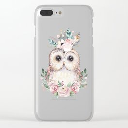 Forest Owl Floral Pink by Nature Magick Clear iPhone Case