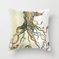monika strigel Throw Pillows featuring The Impossible Specimen by Will Santino