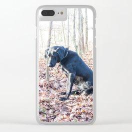 Black Labrador Retriever on a Hunt Clear iPhone Case