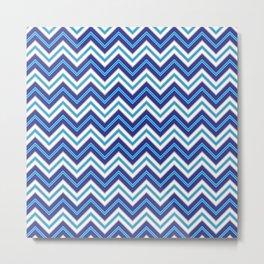 Chevron Pattern | Blue Black White Metal Print