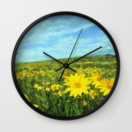 Field of Yellow Wall Clock